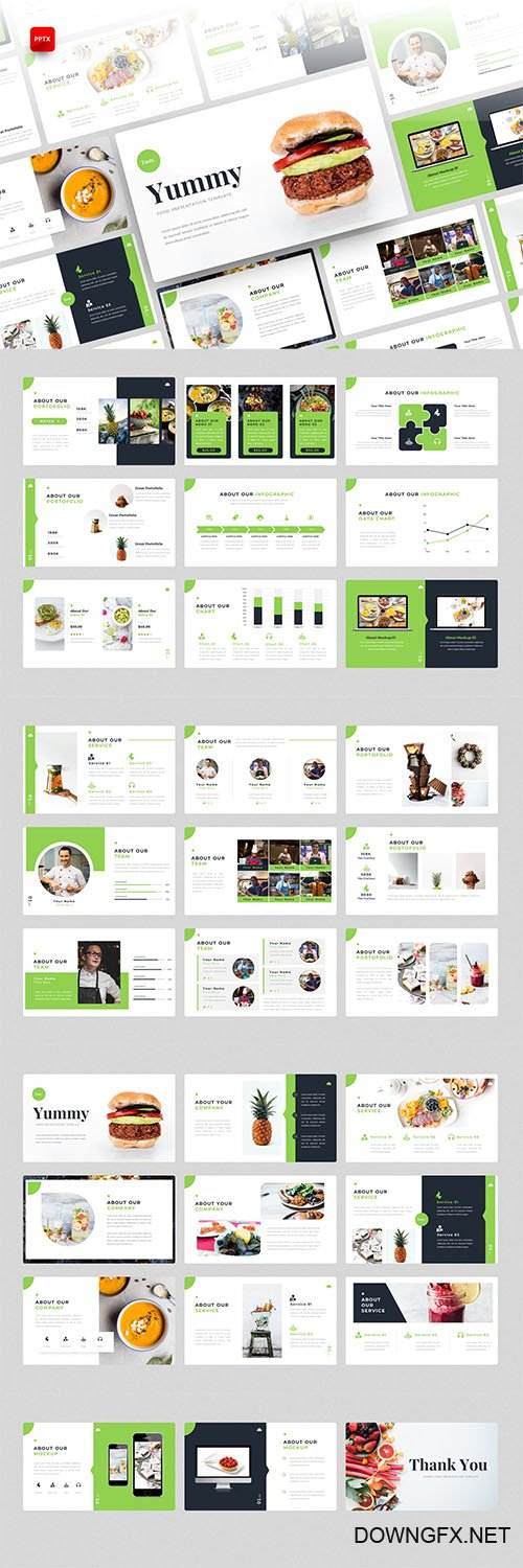 Yummy-Food PowerPoint, Keynote and Google Slides Template