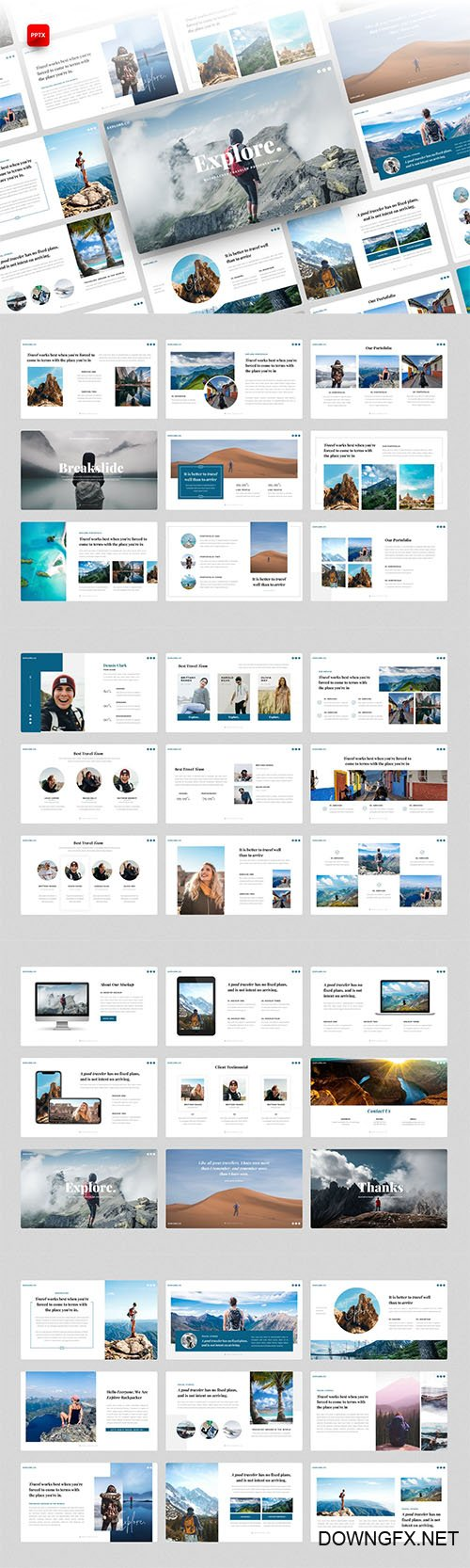 Explore - Backpacker PowerPoint, Keynote and Google Slides Template