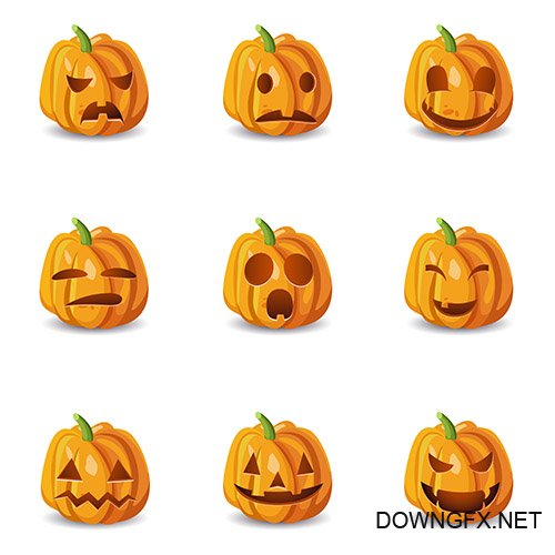 Isolated Halloween Pumpkin Set