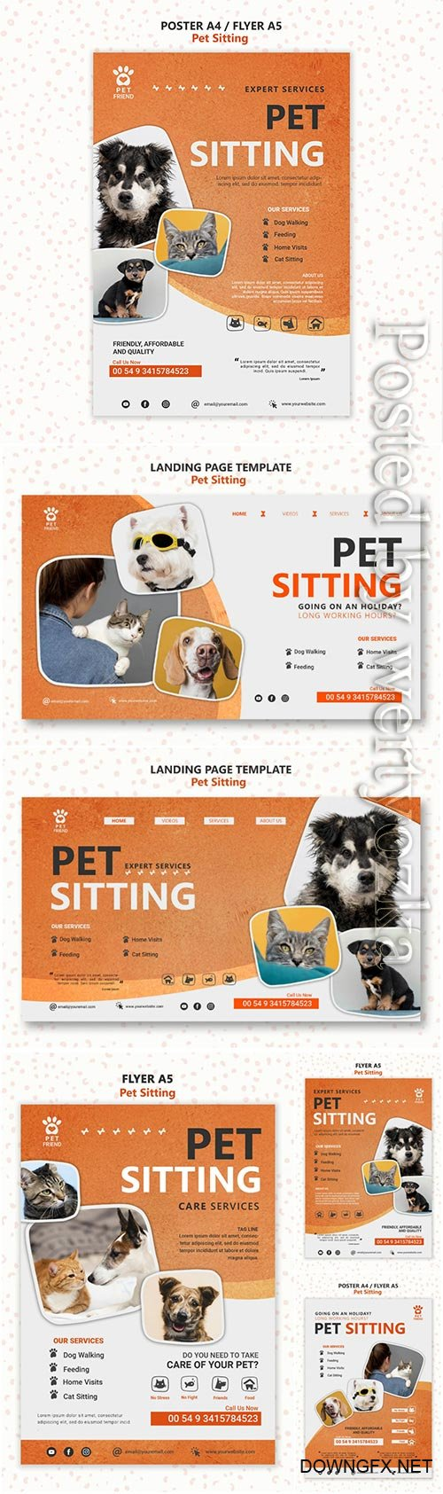 Pet sitting concept flyer template psd