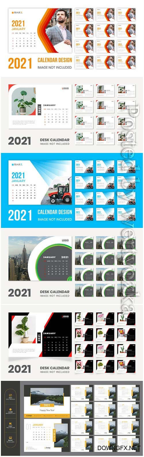 Desk calendar new year 2021