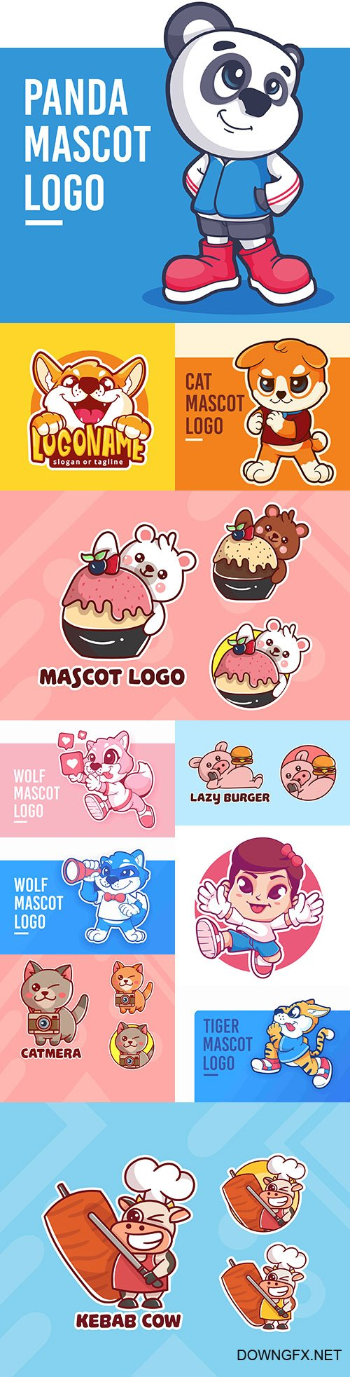 Emblem mascot and Brand name logos design 16