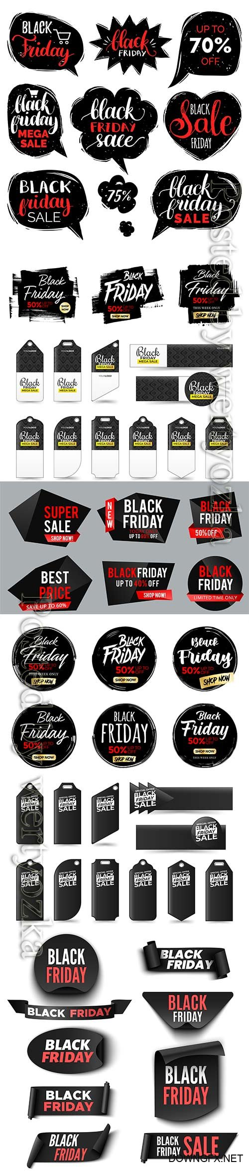 Set of black friday sale banners, ribbons and stickers