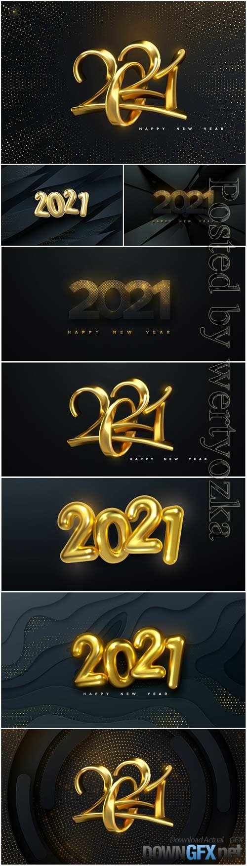 Happy new year background with realistic gold numbers 2021