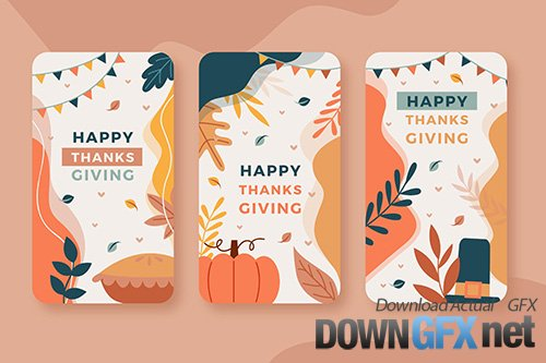 Flat design thanksgiving instagram stories