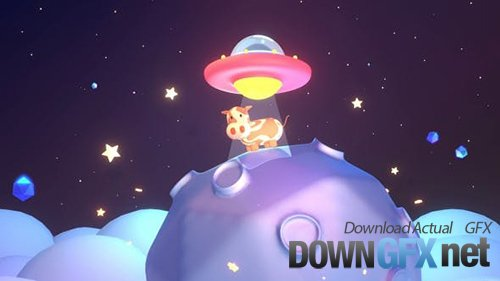 Videohive - Cute UFO And Cow 29012971