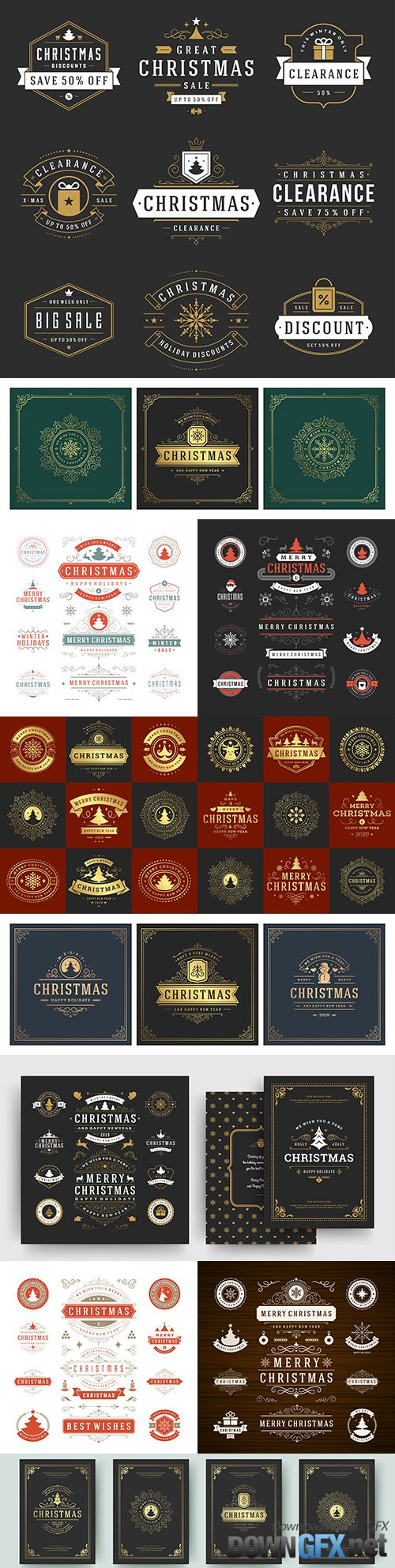 Christmas labels and design elements for greeting card logos