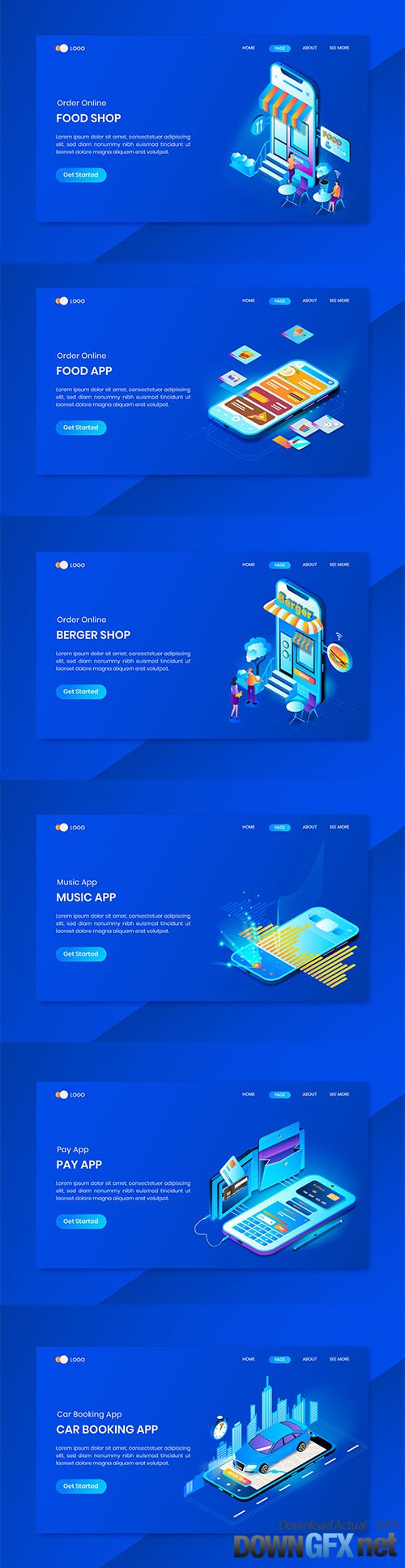 App isometric concept landing page