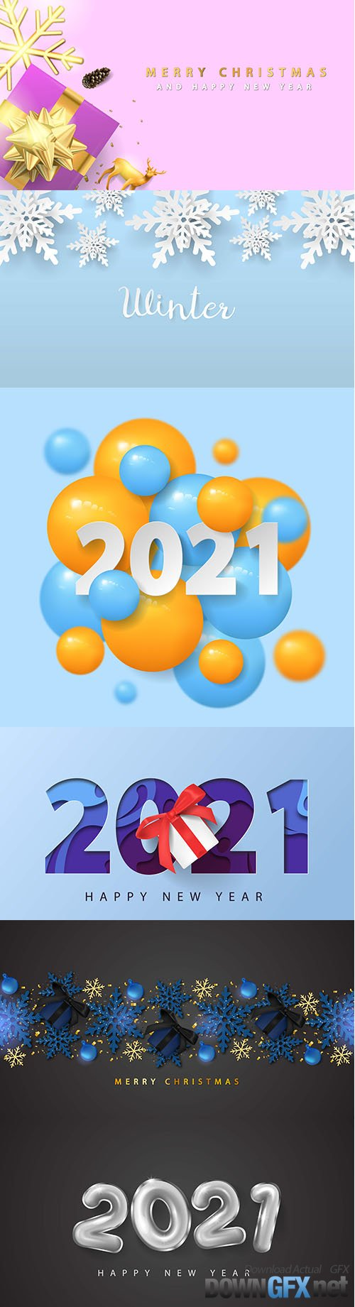 2021 happy new year with 3d papercut and giftbox background