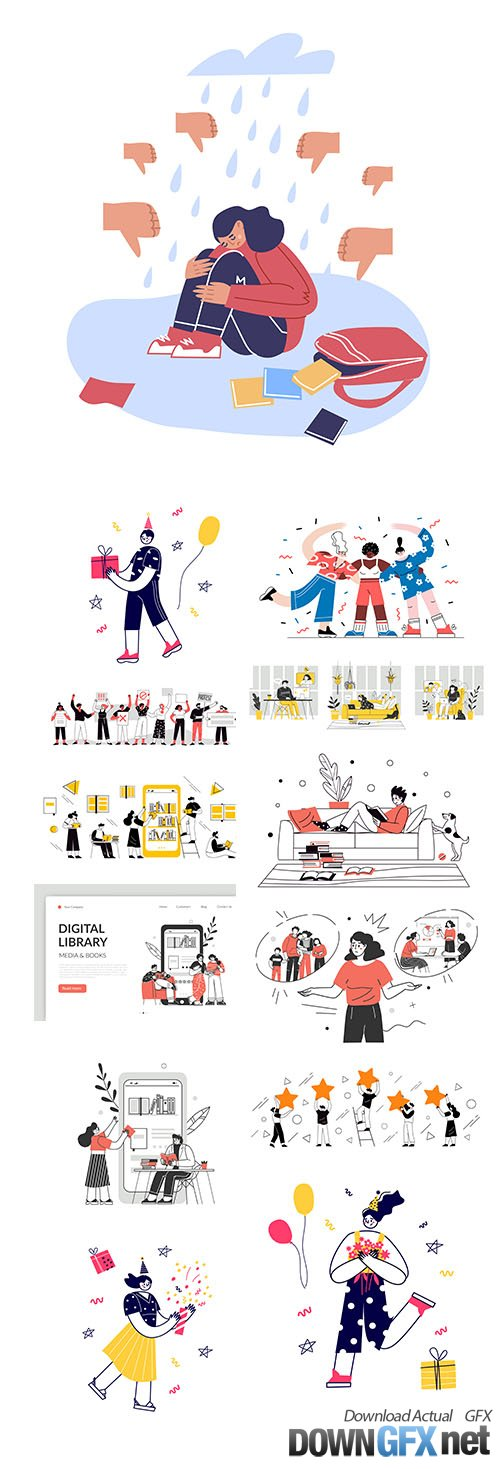 Many People Concept Vector Illustrations