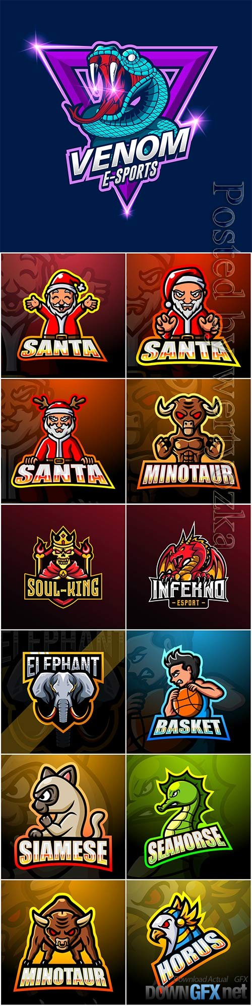 Mascot esport logo design premium vector vol 42