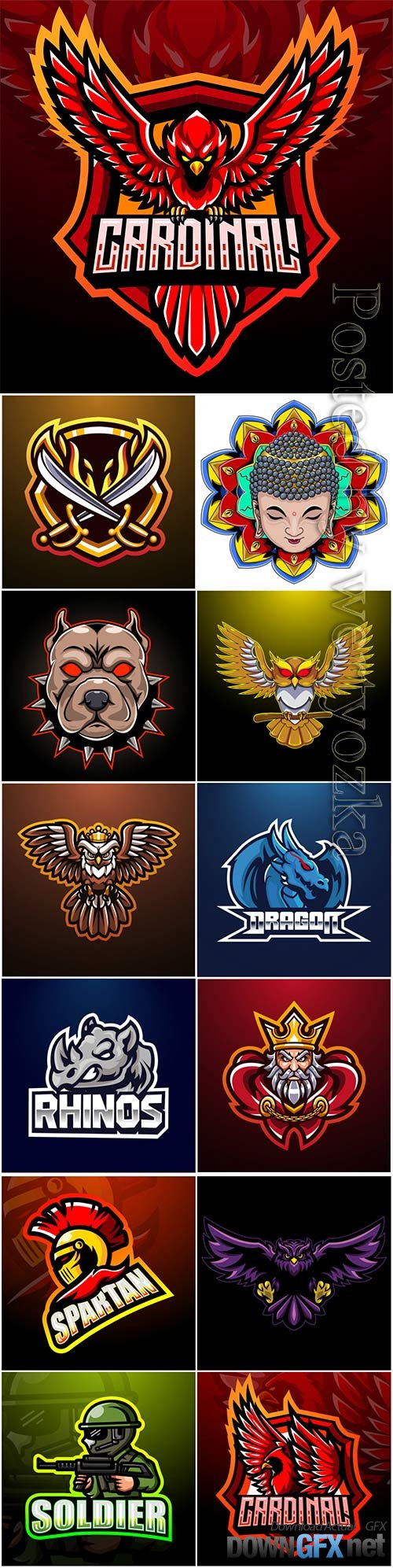 Mascot esport logo design premium vector vol 39