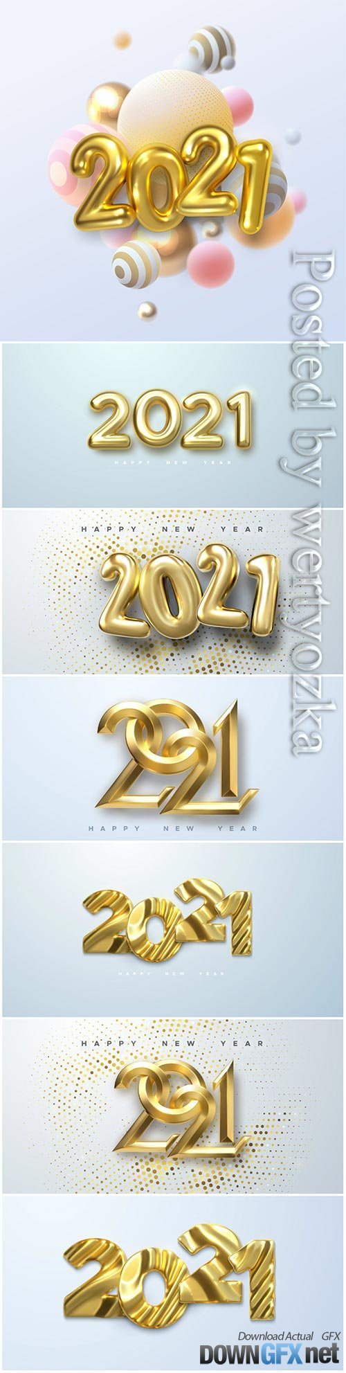 Gold numbers 2021 for new year illustration