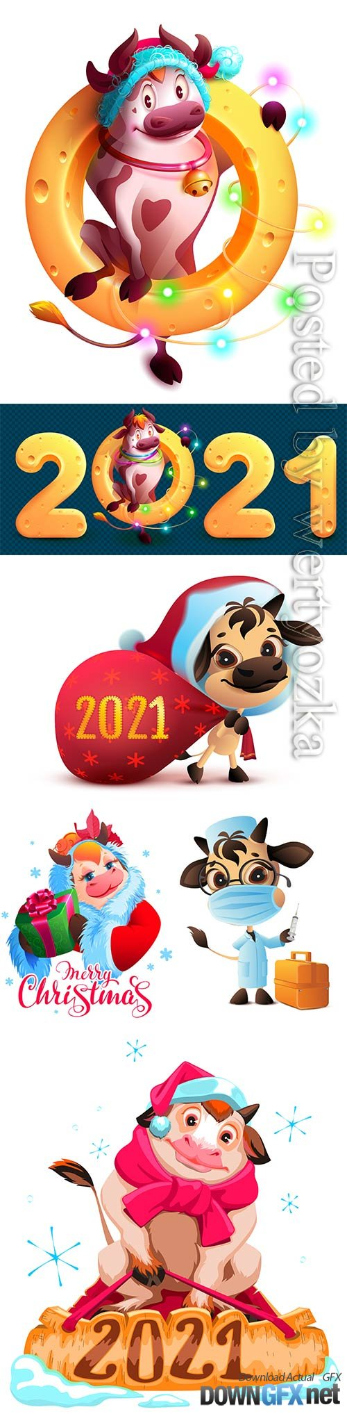 Merry christmas text santa cow symbol 2021 vector illustration