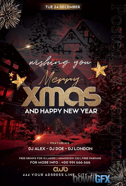 Wishing You Xmas Flyer PSD Template