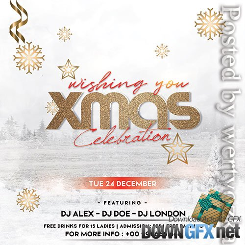 Xmas Celebration Flyer PSD Template