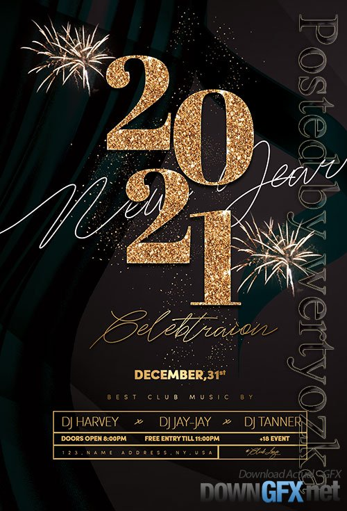 New Year Event Flyer PSD Template
