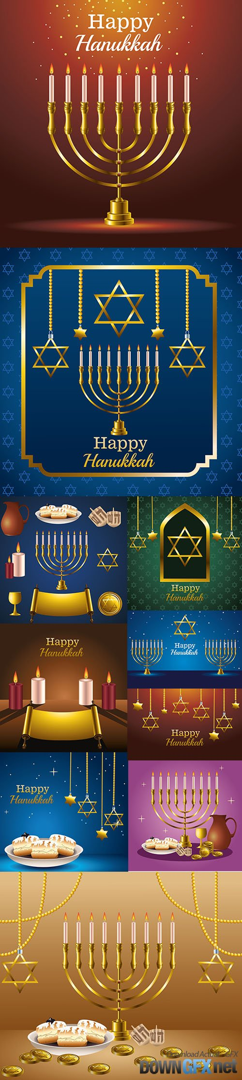 Happy hanukkah celebration card with golden stars hanging vector illustration