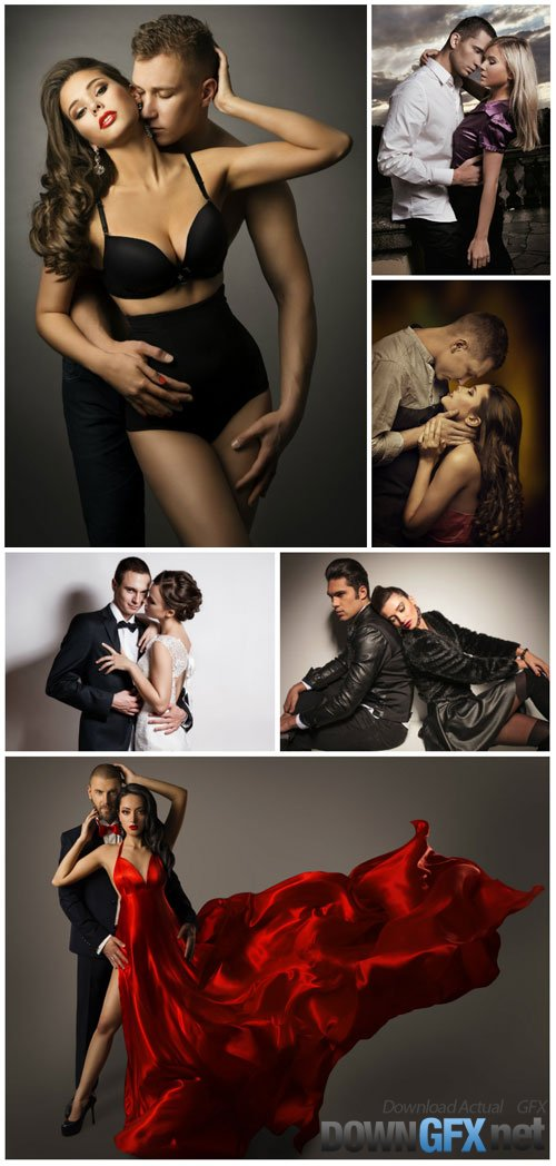 Beautiful couples, men and women stock photo