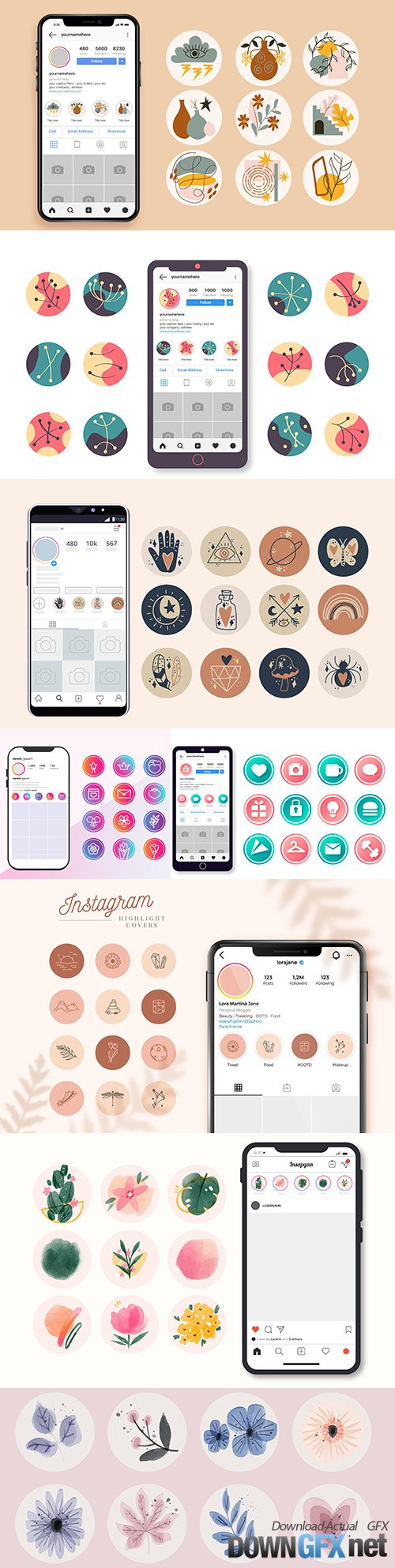 Instagram icons for application design abstract drawn