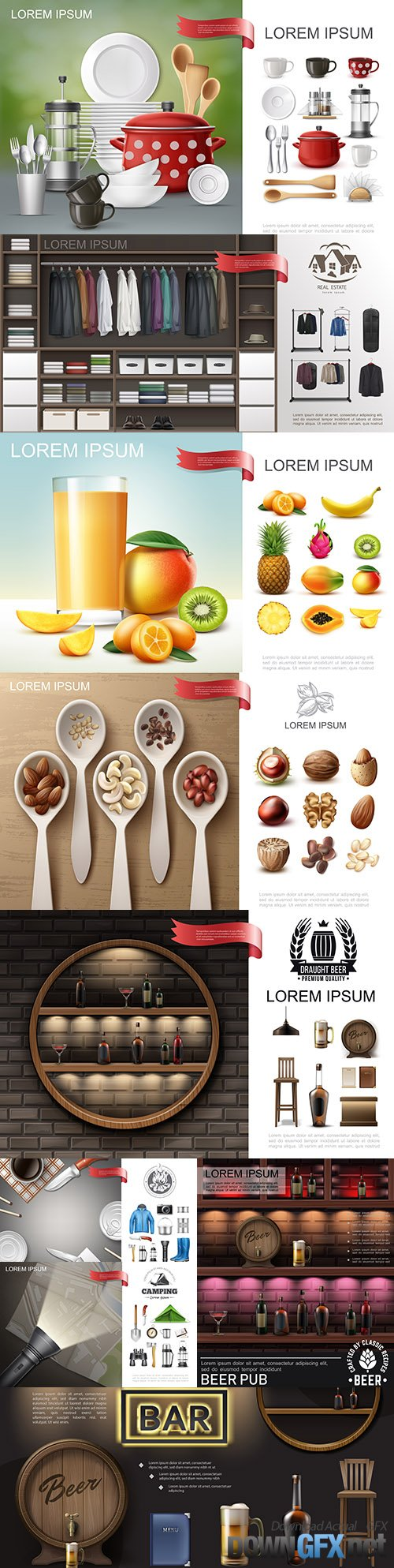 Realistic composition of fruit juice, dishes and various items