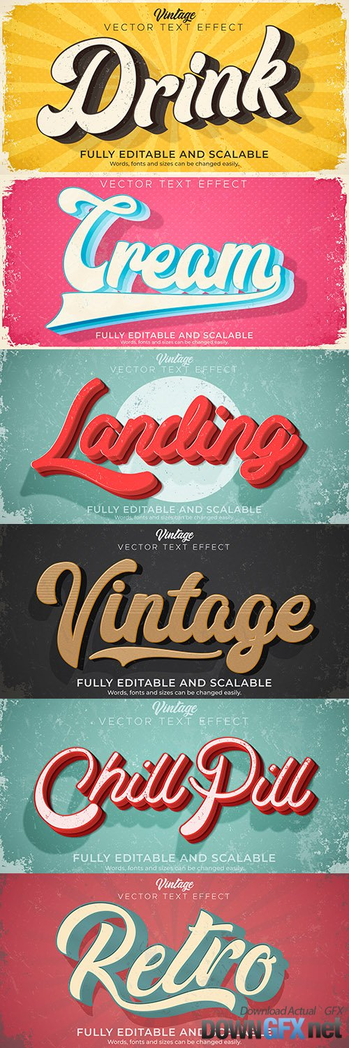 Editable font and 3d effect text design collection illustration 37