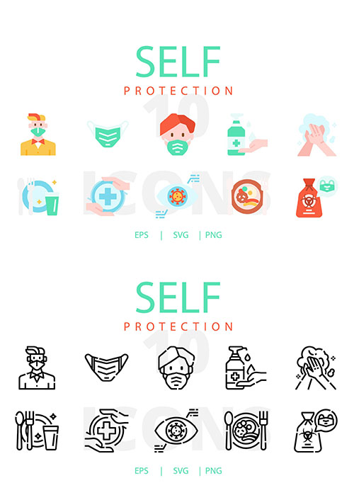 Self Protection vector icons