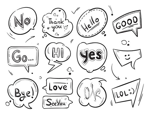 Comic speech bubbles with popular message words collection
