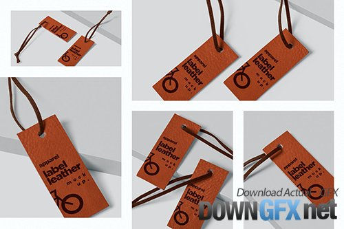 Leather Label with String Mockups PSD