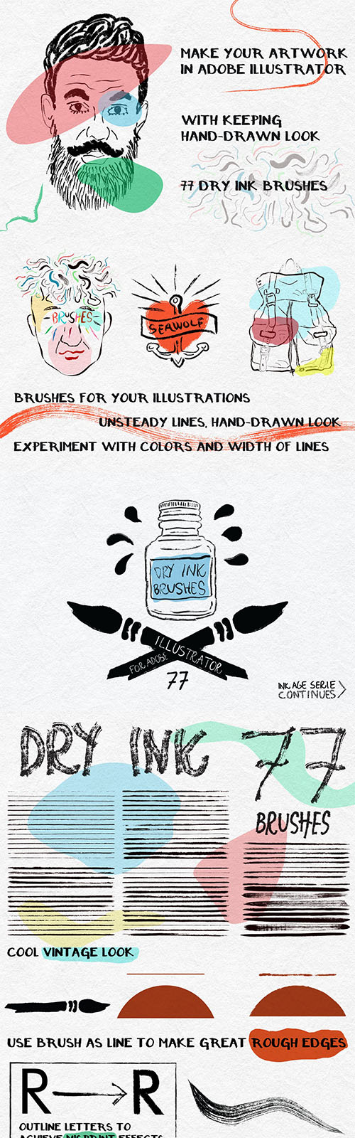 Dry Ink Brushes for Adobe Illustrator