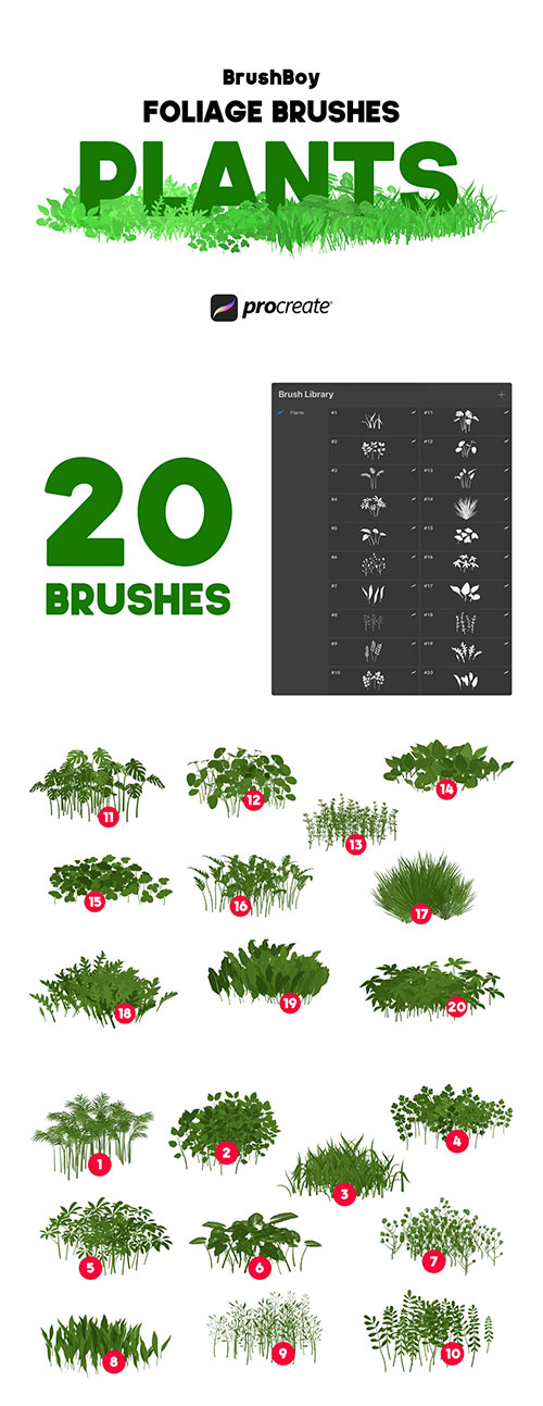 Procreate Foliage Brushes - Plants
