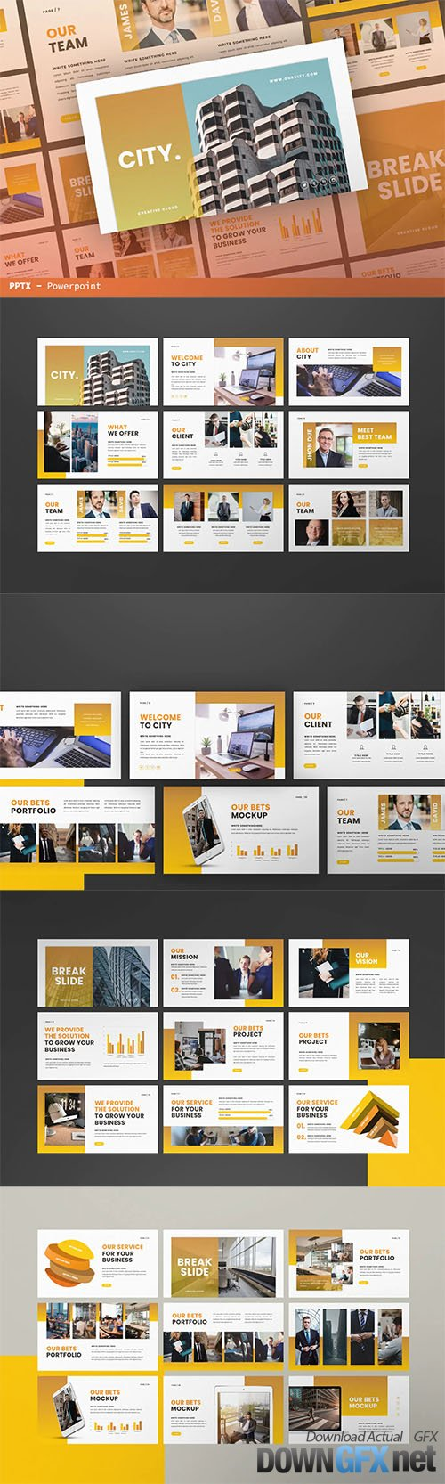 City Business Powerpoint, Keynote, Google Slides, Presentation Template