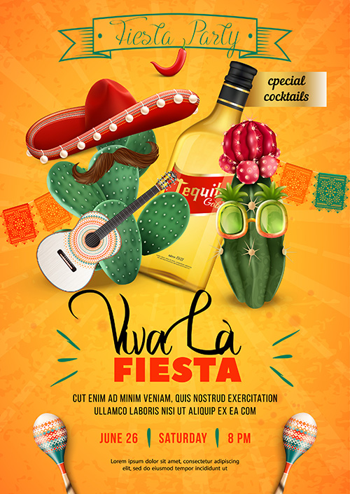 Fiesta party poster template with mexican sombrero