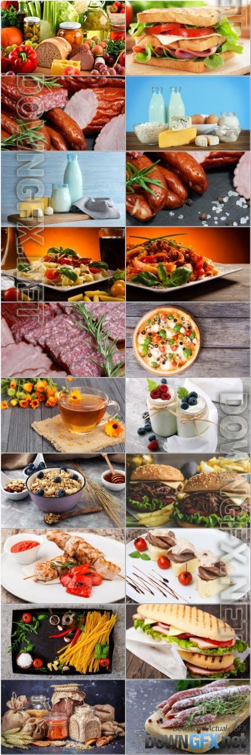 Pastry, meat, fruits, dairy products - set stock photo