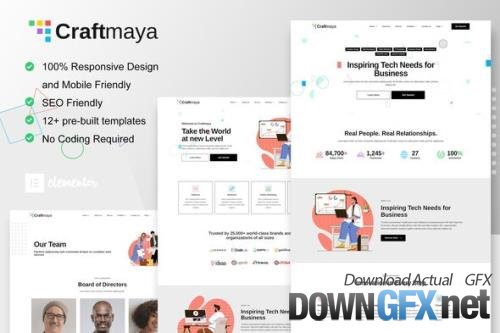 ThemeForest - CraftMaya v1.0.0 - IT Solutions & Services Company Elementor Template Kit - 33770922