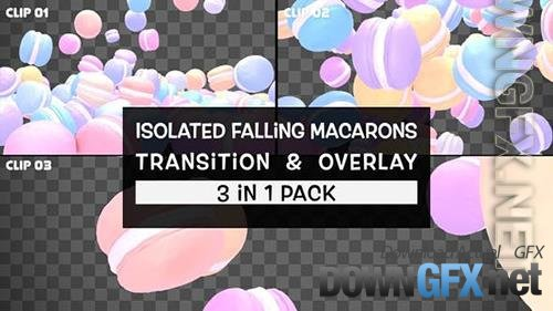 VideoHive - Isolated Falling Macarons Transition And Overlay Pack 33734727