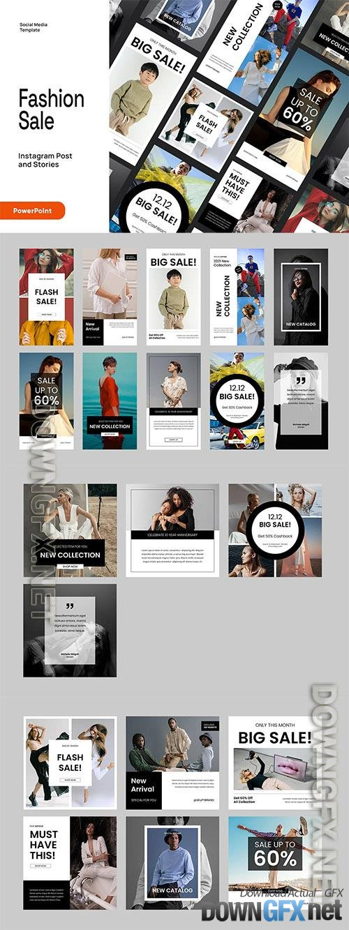 Fashion Instagram Post & Stories Powerpoint, Keynote and Google Slides Template