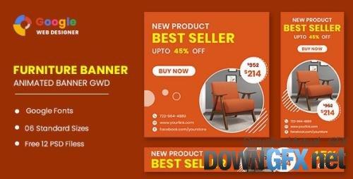 CodeCanyon - Furniture Google Adwords Sale HTML5 Banner Ads GWD v1.0 - 33791853