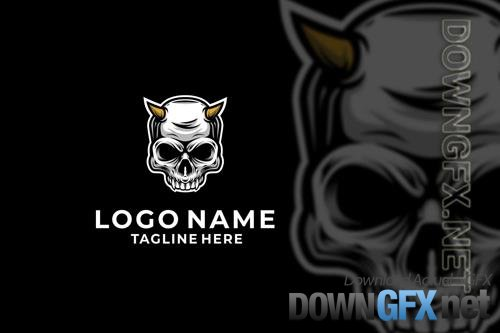 Devil Skull Logo Design Vector