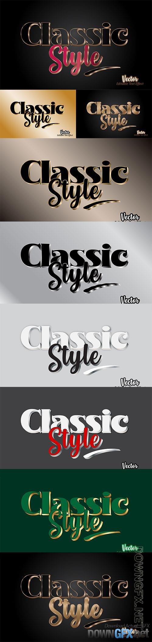 Editable classic style 3d text effect template premium vector