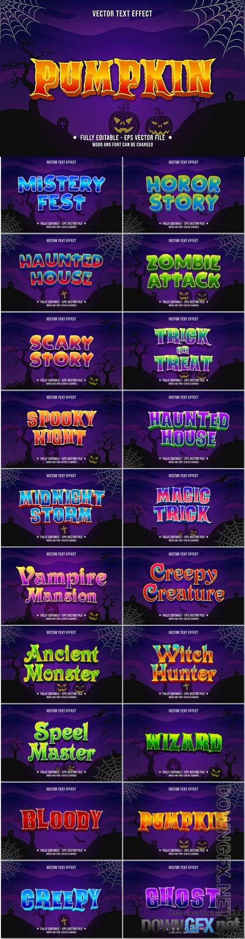 Editable text effect scary halloween event theme style for digital and print media template vector