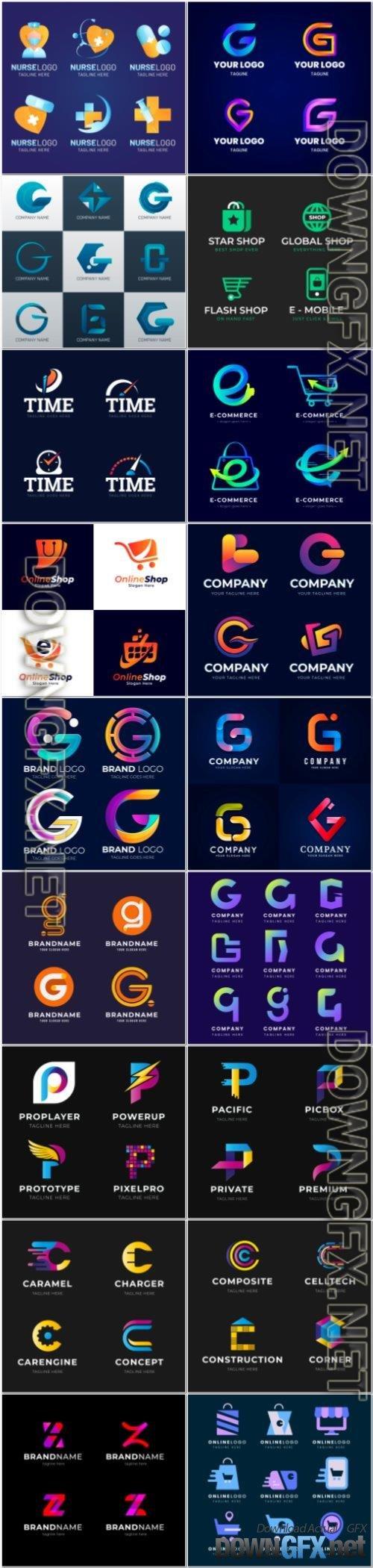 Letter logo design with color concept premium vector