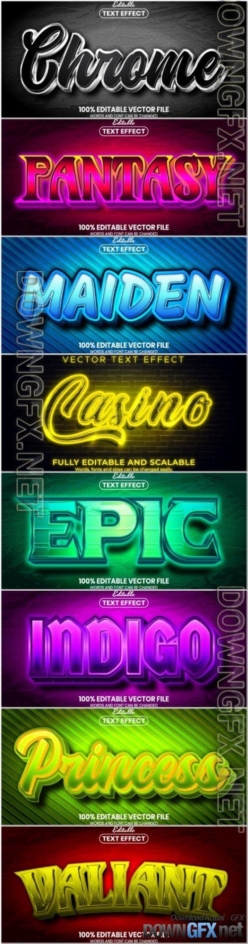 Set 3d editable text style effect vector vol 93