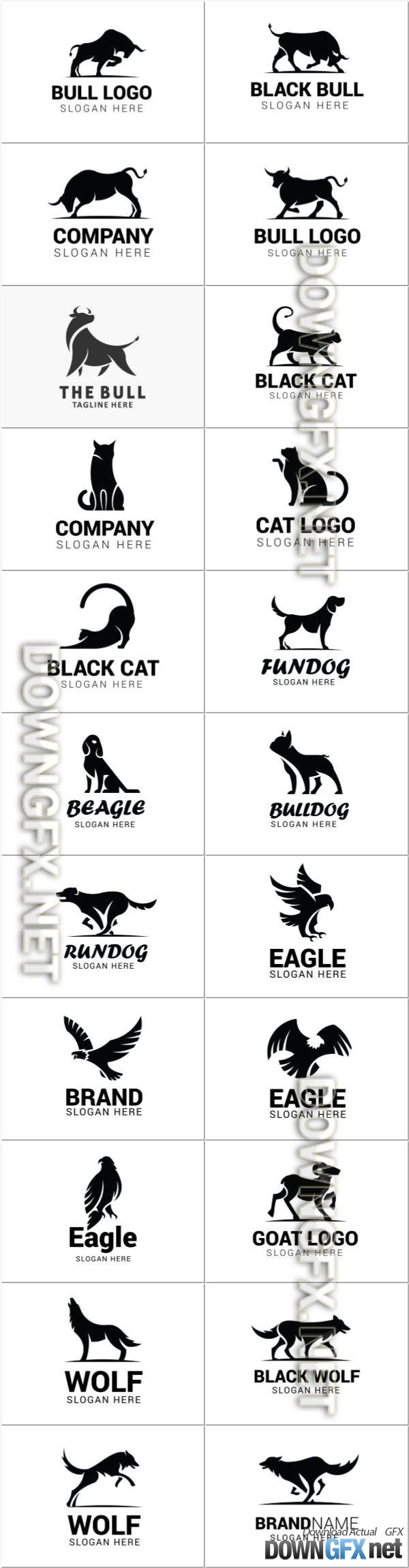 Vector logos with the image of animals for business companies