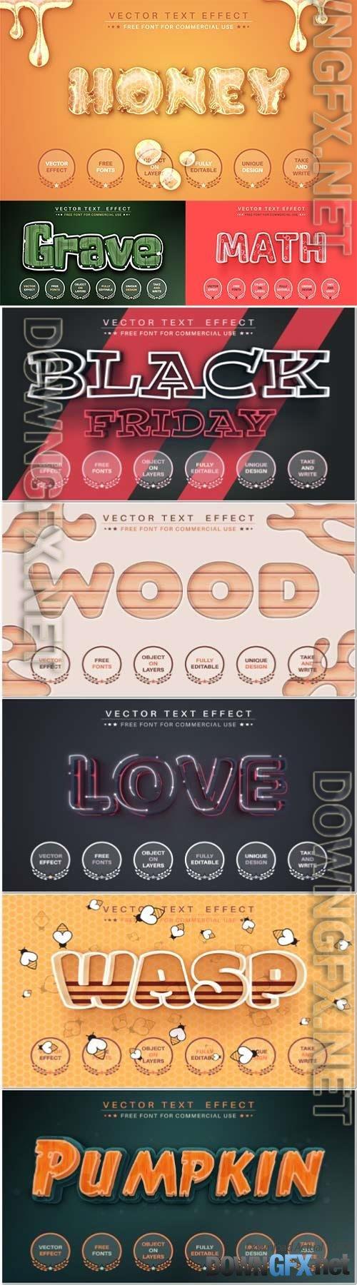Set 3d editable text style effect vector vol 86