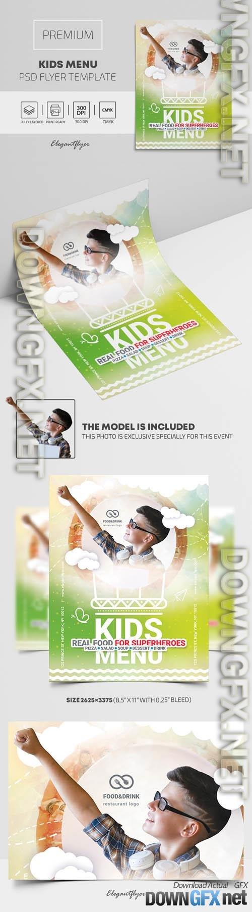 Kids Menu Delicious Healthy Premium PSD Flyer Template