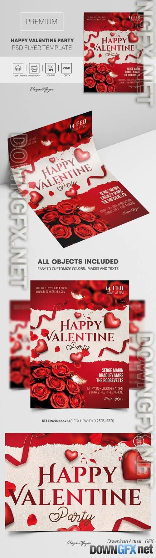 Happy Valentine Party Premium PSD Flyer Template