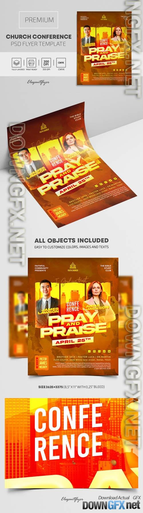 Church Conference Premium PSD Flyer Template