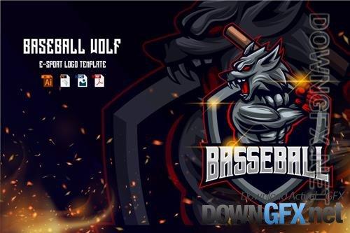 Baseball Wolf E-sport logo template