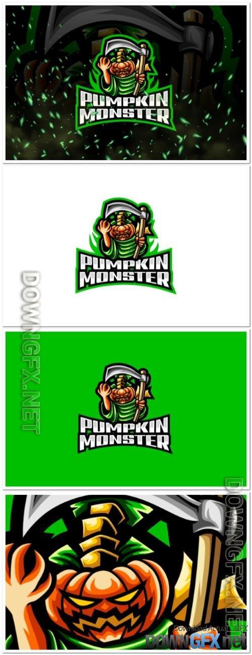Pumpkin Monster E-Sport and Sport Logo Template
